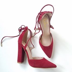 Lulu's Red Faux Suede strappy heels size 7.5